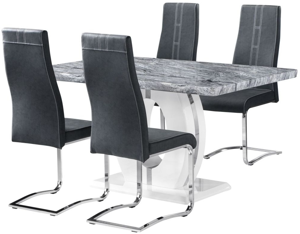Buy Shankar Marble Effect Top Rectangular Dining Set With 4 Nova In 2017 Marble Effect Dining Tables And Chairs (View 3 of 20)