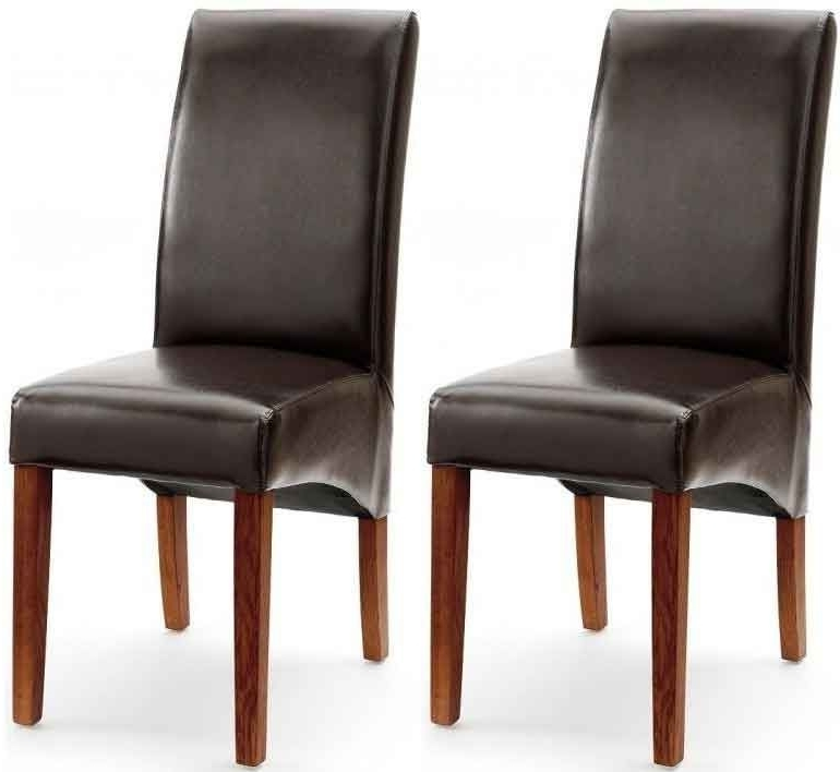 Buy Willis And Gambier Originals Fletton Brown Faux Leather With In Most Recent Dark Brown Leather Dining Chairs (View 4 of 20)