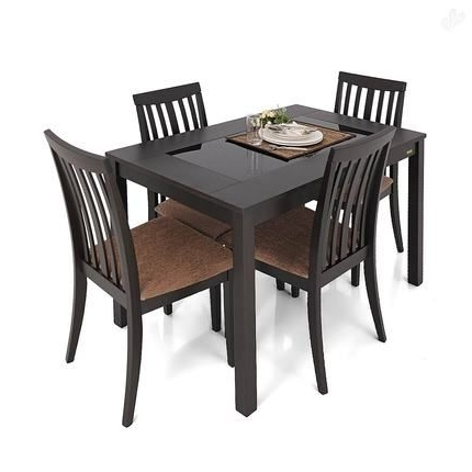Buy Zuari Dining Table Set 4 Seater Wenge Finish – Piru Online India With Most Current Buy Dining Tables (View 6 of 20)