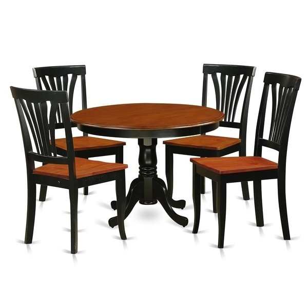 Caden 5 Piece Round Dining Sets With Upholstered Side Chairs Inside Most Current Hlav5 W 5 Pc Table Set With A Dinette Table And 4 Dining Chairs (View 3 of 20)