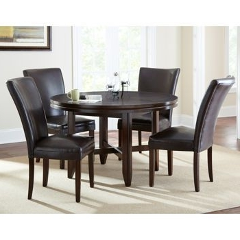 "Caden 5 Piece Round Dining Sets With Upholstered Side Chairs Within Widely Used Caden 5 Piece Dining Set With 52"" Table (View 7 of 20)"