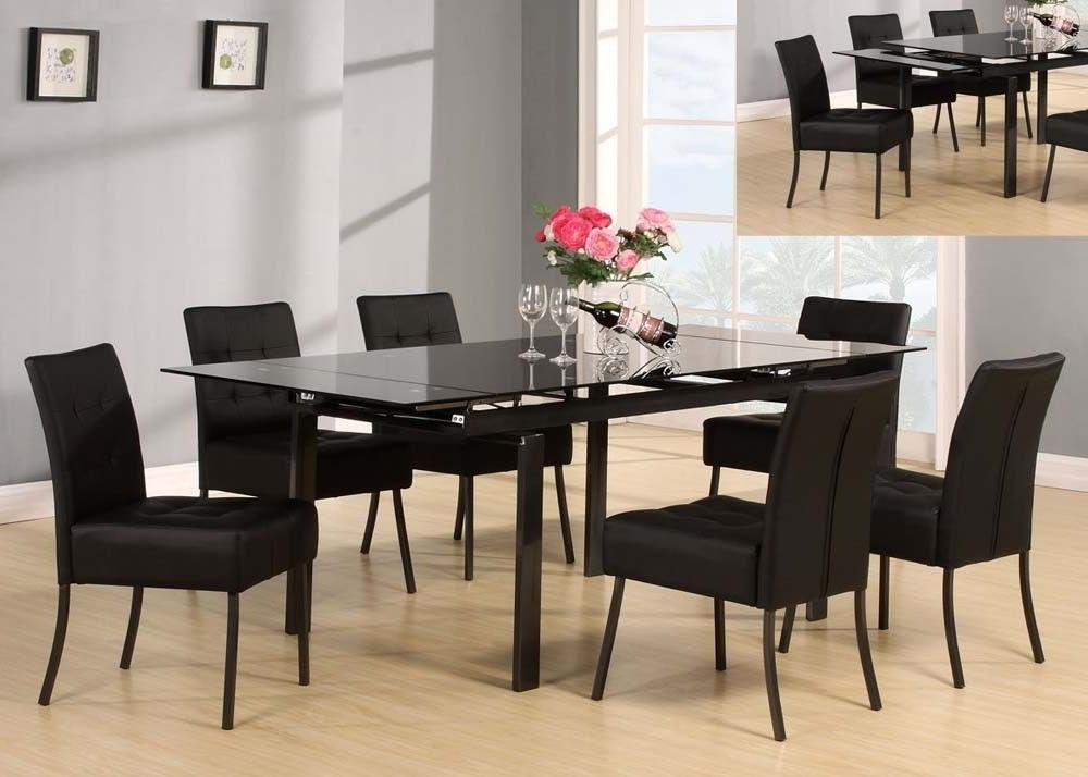 Caden 7 Piece Dining Sets With Upholstered Side Chair With Regard To Widely Used Acme 71010 Parrish Black 7 Piece Glass Dining Set (View 4 of 20)