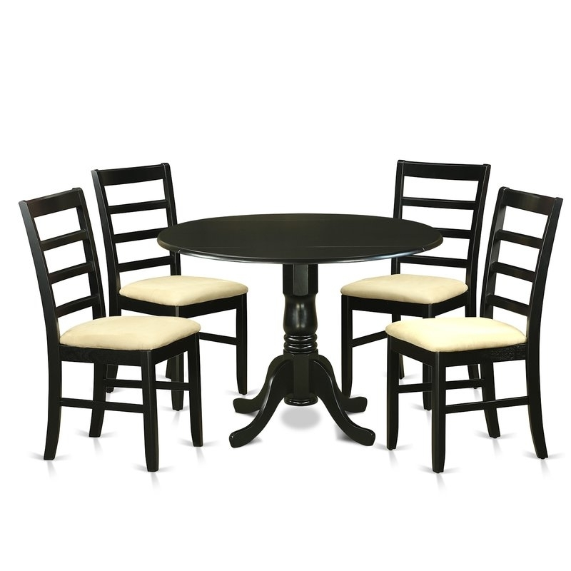 Caira Black 5 Piece Round Dining Sets With Upholstered Side Chairs In 2017 Wooden Importers Dublin 5 Piece Dining Set (View 5 of 20)