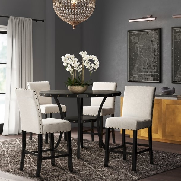 Caira Black 5 Piece Round Dining Sets With Upholstered Side Chairs Within Trendy Ciara Espresso 5 Pc Dining Set (View 9 of 20)