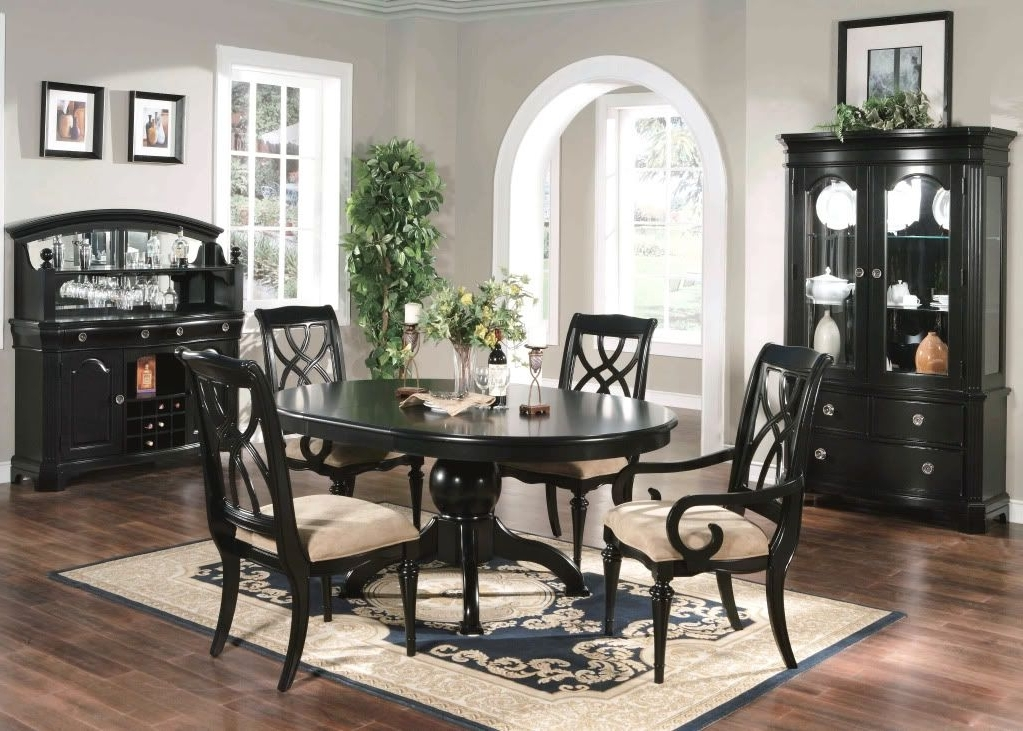 Caira Black 7 Piece Dining Sets With Arm Chairs & Diamond Back Chairs With Favorite Formal Dining Room 6 Piece Set Oval Table Chairs Black (View 7 of 20)