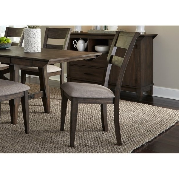 Caira Black 7 Piece Dining Sets With Upholstered Side Chairs Throughout Newest Shop Double Bridge Dark Chestnut Splat Back Side Chair – Free (View 2 of 20)