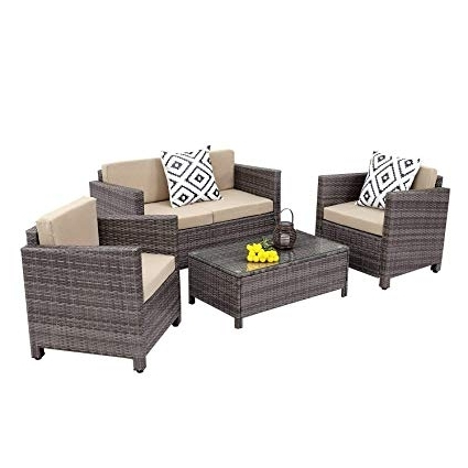 Calder Grey 6 Piece Manual Reclining Sectionals With Favorite Amazon: Wisteria Lane Outdoor Patio Furniture Set,5 Piece (View 10 of 15)