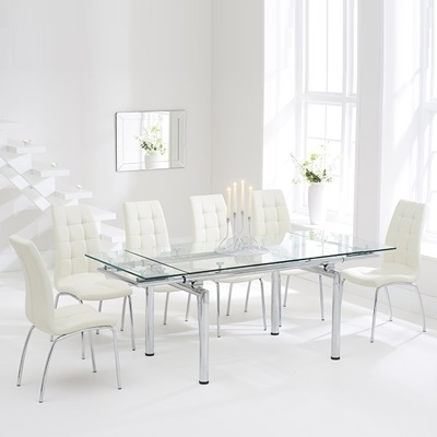 Calgary Glass Extending Dining Table With 8 Cream Chairs Within Widely Used Extending Glass Dining Tables And 8 Chairs (View 3 of 20)