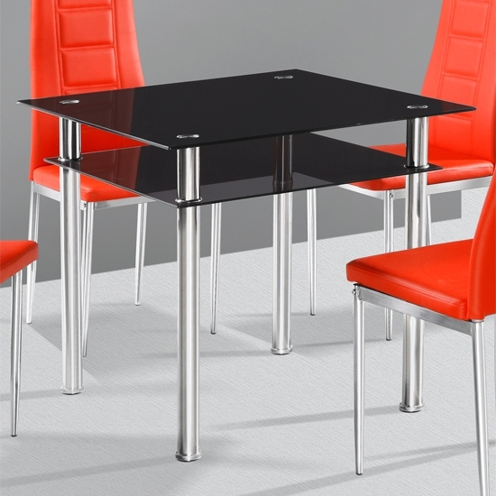 Callisto Black Glass Dining Table Only 18209 Furniture In Pertaining To Recent Square Black Glass Dining Tables (View 3 of 20)