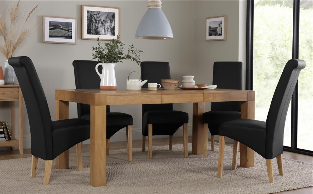 Cambridge Oak Extending Dining Table With 4 Richmond Black Chairs Inside Most Current Cambridge Dining Tables (View 7 of 20)