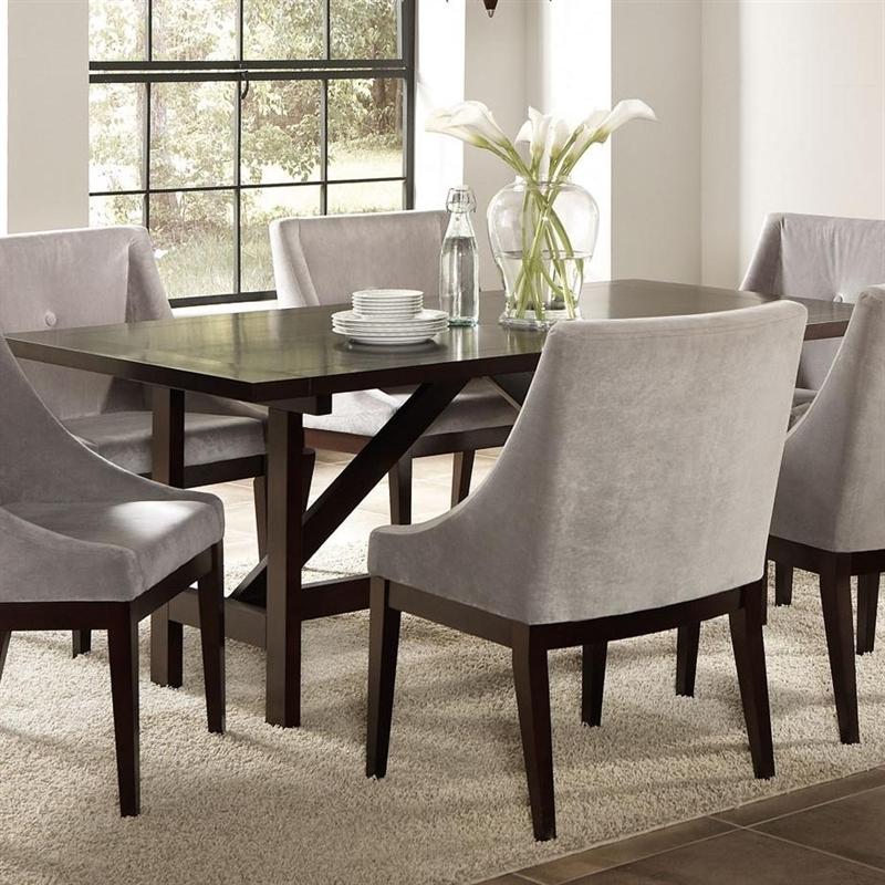 Candice 7 Pc Dining Table Set In Cappuccino Finishcoaster – 102230 With Recent Candice Ii 5 Piece Round Dining Sets (View 2 of 20)