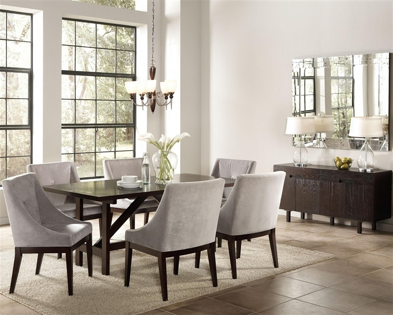 Candice Ii 5 Piece Round Dining Sets Pertaining To Well Liked Candice 7 Pc Dining Table Set In Cappuccino Finishcoaster –  (View 6 of 20)