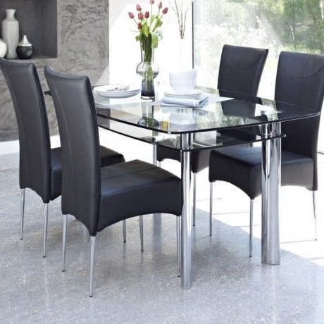 Candice Ii 7 Piece Extension Rectangular Dining Sets With Uph Side Chairs Throughout Well Liked Contemporary Glass Dining Table Design Come With 2 Tier To Storage (View 3 of 20)