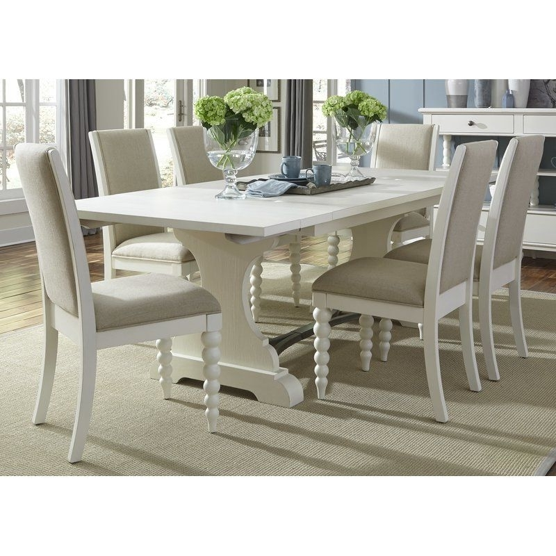 Candice Ii 7 Piece Extension Rectangular Dining Sets With Uph Side Chairs With Regard To 2017 Opal 7 Piece Dining Set (View 6 of 20)