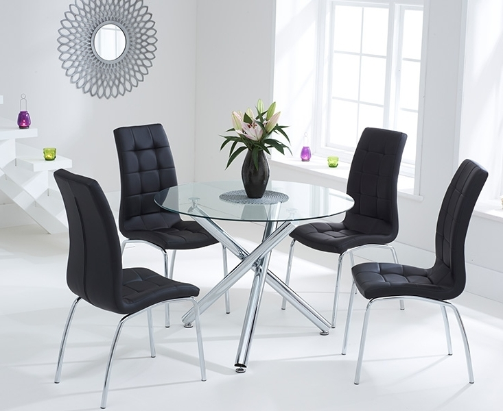 Canvey Glass 100Cm Round Dining Set With 2 Forli Black Chairs For Current Round Black Glass Dining Tables And 4 Chairs (View 1 of 20)