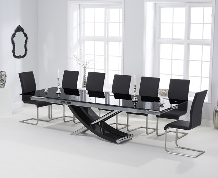 Carlton Black Glass 210Cm Extending Dining Set With 8 Boston Black Regarding Most Recently Released Extended Dining Tables And Chairs (View 3 of 20)