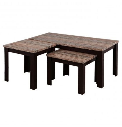 Carly Fabric Coffee End Table Set Of 3 Within Well Known Carly Rectangle Dining Tables (View 4 of 20)