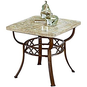 Carly Triangle Tables Inside Fashionable Amazon: Furniture Brookside Fossil End Table (Metallic Brown (View 3 of 20)