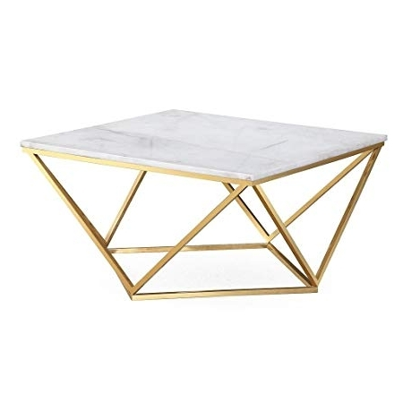 Carly Triangle Tables With Famous Amazon: Leopold White Marble Cocktail Table: Home & Kitchen (View 5 of 20)