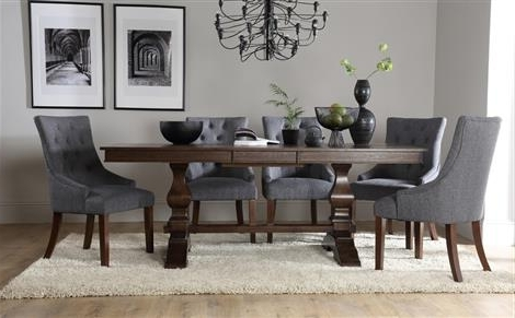 Cavendish Dark Wood Extending Dining Table With 8 Bewley Silver Regarding Widely Used Dark Dining Tables (View 5 of 20)