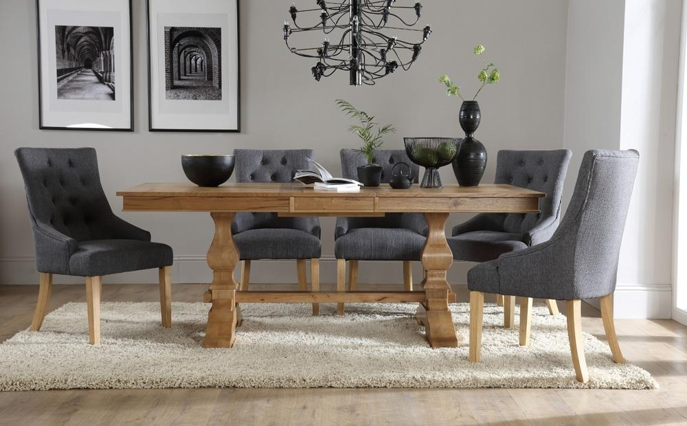 Cavendish Oak Extending Dining Table With 6 Duke Slate Chairs Only Pertaining To Most Recently Released Oak Extending Dining Tables And Chairs (View 2 of 20)