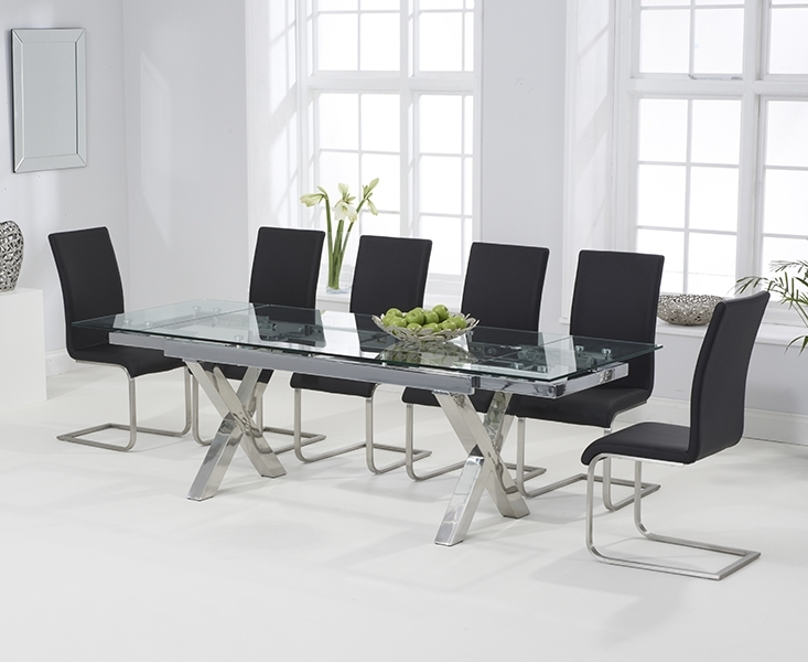 Celeste 160Cm Extending Glass Dining Table With Malaga Chairs Within Widely Used Extendable Glass Dining Tables And 6 Chairs (View 7 of 20)