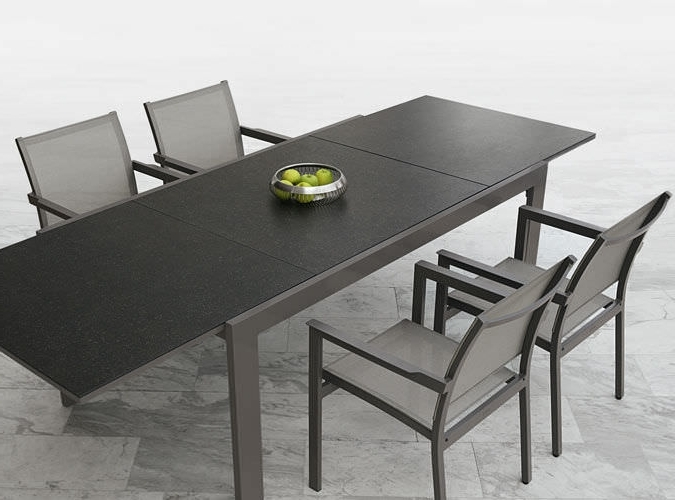 Ceramic Aluminum Extendable Dining Table Modern Black White With Regard To 2018 Outdoor Extendable Dining Tables (View 8 of 20)