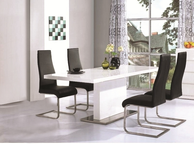 Chaffee High Gloss Dining Table Leather Steel Chairs Throughout Latest Gloss Dining Tables (View 3 of 20)