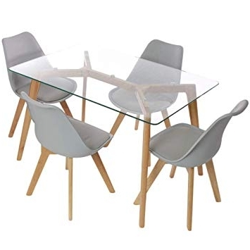 Charles Jacobs Dining Table And Chairs Set – Solid Oak And Glass Inside Most Popular Glass Dining Tables With Oak Legs (View 4 of 20)