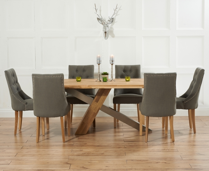 Chateau 195Cm Solid Oak And Metal Dining Table With Pacific Fabric Intended For Famous Oak Dining Tables And Fabric Chairs (View 4 of 20)