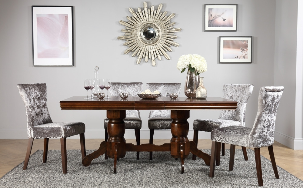 Chatsworth & Bewley Extending Dark Dining Table & 4 6 Chairs Set For Well Known Chatsworth Dining Tables (View 3 of 20)