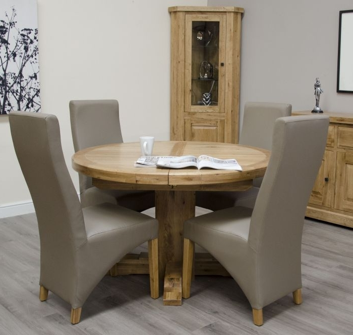 Chatsworth Dining Tables Regarding Preferred Chatsworth Oak Round Extending Table (View 6 of 20)