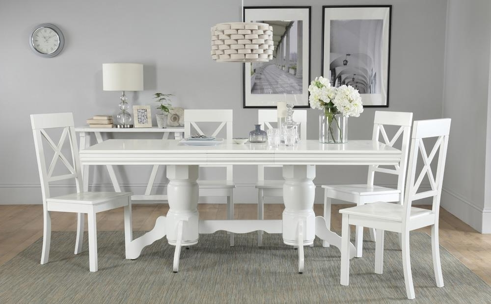 Chatsworth Dining Tables With Regard To Favorite Chatsworth White Extending Dining Table With 6 Kendal Chairs Only (View 7 of 20)