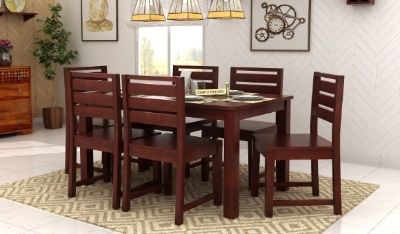 Cheap 6 Seater Dining Tables And Chairs Pertaining To Well Known Dining Table Sets: Buy Wooden Dining Table Set Online @ Low Price (View 4 of 20)