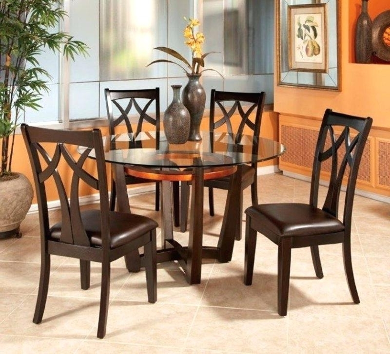 Cheap Dining Table And 4 Chairs Round Glass Top Dining Table Set W 4 With Latest Small Round Dining Table With 4 Chairs (View 4 of 20)