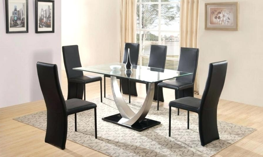 Cheap Dining Table With 6 Chairs Dining Room Miraculous 6 Dining Pertaining To Well Known Black Glass Dining Tables 6 Chairs (Gallery 18 of 20)