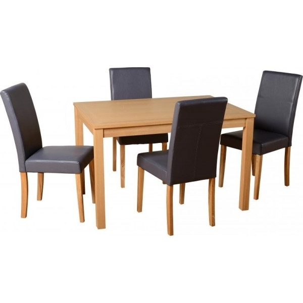Cheap Dining Tables For Most Up To Date Cheap Seconique Oakmere Small Oak Dining Table Set & 4 Charcoal (View 3 of 20)