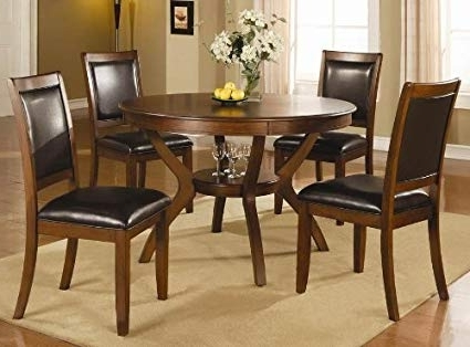 Cheap Dining Tables Sets Intended For 2017 Amazon – Swanville 5 Piece Dining Table Set In Brown Walnut (View 2 of 20)