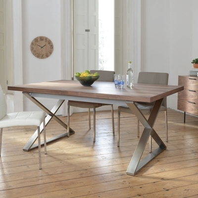 Cheap Extendable Dining Tables Throughout Fashionable Crossed Leg Walnut Extending 6 10 Seater Dining Table Brushed Steel (View 7 of 20)