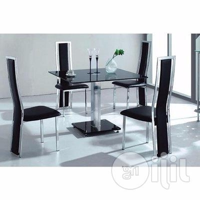 Cheap Glass Dining Tables And 4 Chairs For Fashionable Homcy Glass Dining Table With 4 Chairs In Lagos State – Furniture (View 17 of 20)