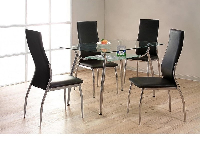 Cheap Glass Dining Tables And 4 Chairs For Trendy Glass / Chrome Dining Table And 4 Chairs – Homegenies (View 3 of 20)