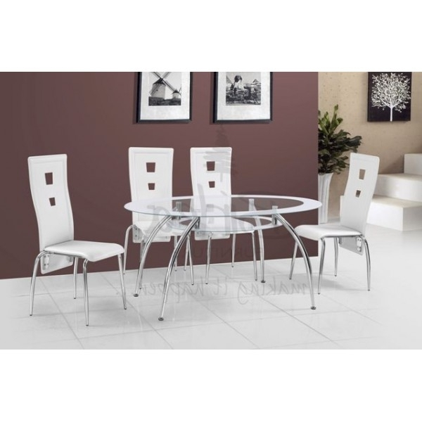 Cheap Glass Dining Tables And 4 Chairs For Well Liked Cheap Birlea Soho Oval Glass Dining Table Set With 4 White Chairs (View 7 of 20)