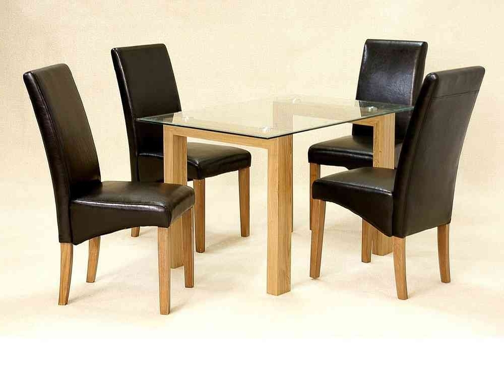 Cheap Glass Dining Tables And 4 Chairs With Regard To Recent Glass Dining Table And 4 Chairs Clear Small Set Oak Wood Finish (View 12 of 20)