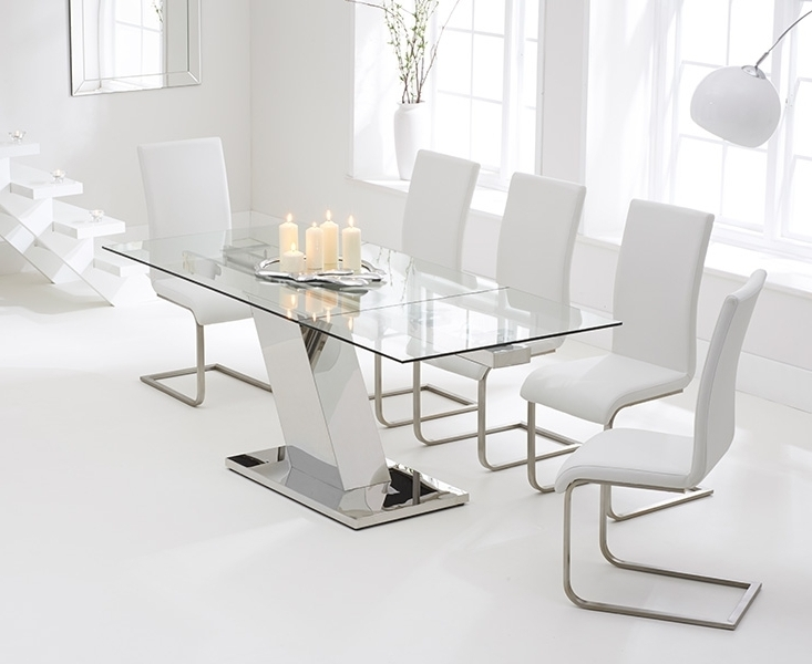 Cheap Glass Dining Tables And 6 Chairs Regarding Most Up To Date Buy Mark Harris Lamont Glass Dining Set – 140Cm Rectangular (View 6 of 20)