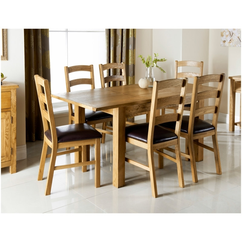 Cheap Oak Dining Sets Intended For Popular Wiltshire Oak Dining Set 7Pc (View 5 of 20)