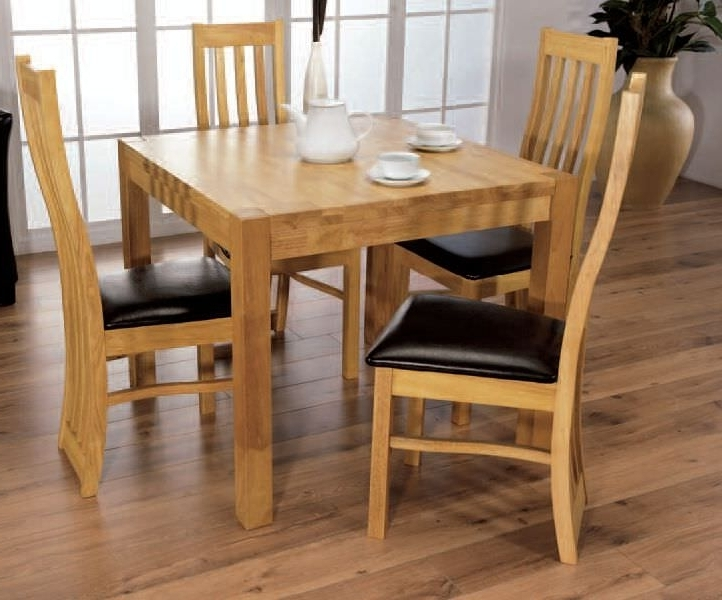 Cheap Oak Dining Tables Within Best And Newest Buy Eve Natural Oak Square Dining Set With 4 Chairs – 90Cm Online (View 20 of 20)