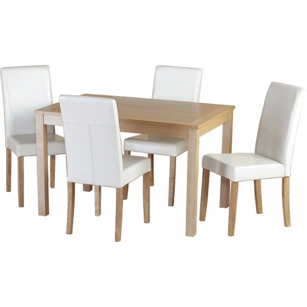 Cheap Seconique Oakmere Small Oak Dining Table Set 4 Christopher Throughout Latest Cheap Oak Dining Sets (View 18 of 20)