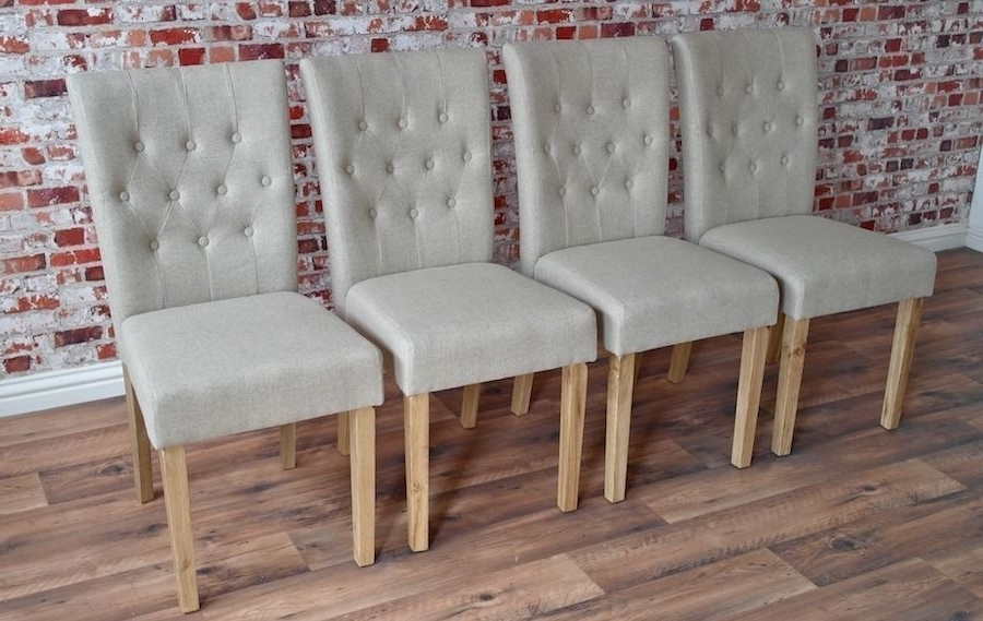 Chesterfield Style Upholstered Dining Chairs Set Button Back Oak Pertaining To Current Button Back Dining Chairs (View 7 of 20)