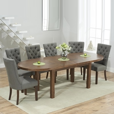 Chevron Dark Oak Oval Extending Dining Table With 6 Albany Grey With Newest Dining Tables With Grey Chairs (View 5 of 20)