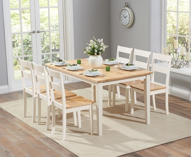 Chichester 150Cm Oak & Cream Dining Table With 4 Dining Chairs Intended For Most Recently Released Cream Dining Tables And Chairs (View 3 of 20)